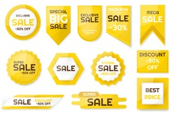 Set of sale tags and labels. Emblems for big seasons sales with percentage set. Vector illustration