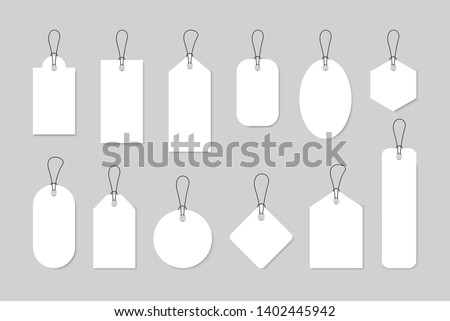 Set of sale tags and labels, template shopping labels. Blank, discount and price tags on paper. Special offer. Vintage. Vector illustration. Photo stock ©