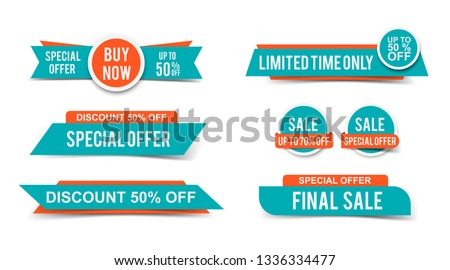 Set of Sale tags or banners, special offer headers, discount stickers. Vector elements for website design #1336334477