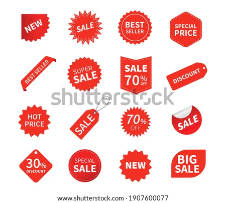 Set of sale tags. Ribbon sale banners. Red ribbon price and discount labels. Red starburst stickers. Vector illustration