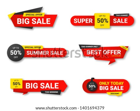 Set of sale tags. Sale, discount and special offer, colorful banners. Collection of discount label, offer tag and sale sticker design for advertising and promotion. Vector #1401694379