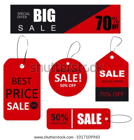 Set of sale tags with text. Limited edition, best choice, special offer. #1017109960