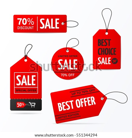 Set of sale tags with text - Limited edition, best choice, special offer. Vector labels for design banners and flyers. Isolated from the background. #551344294