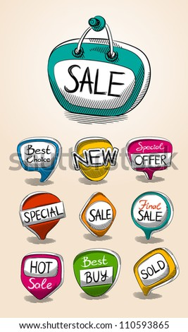Set of sale talk bubbles. vector