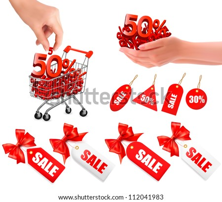 Set of sales tags with red gift bow and shopping carts with sale. Concept of discount. Vector illustration