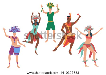 Set of samba dancers at annual carnival. Flat cartoon characters dancing and playing drums. Vector illustration for festival promo, presentation, banner