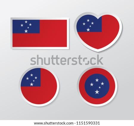 set of samoa flag vector #1151590331