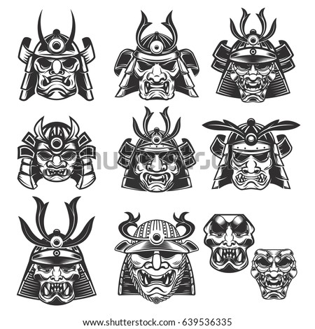set of samurai masks and
