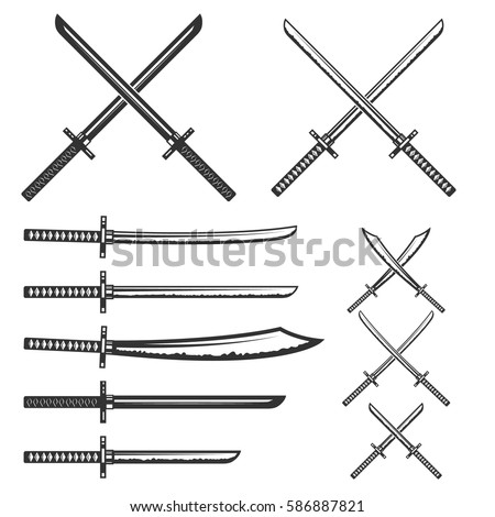 set of samurai swords design