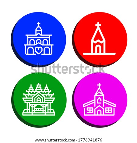 Set of sanctuary icons. Such as Church, Sanctuary of truth , sanctuary icons