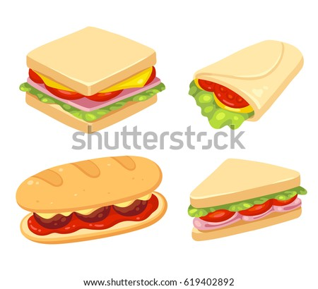 Shutterstock Set of 4 sandwiches. Meatball sub, wrap and traditional ham and cheese on toast. Vector clip art illustration set.