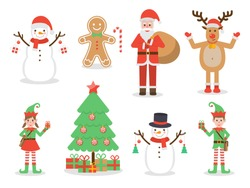 Set of Santa Claus, elf kids, reindeer, snowman, gingerbread and Christmas tree with Christmas decoration. Flat design characters.