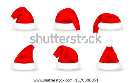 Set of Santa Claus hats. Realistic red Santa Claus caps on white background. Cute Christmas Santa hat for costume and mask, design element. Vector