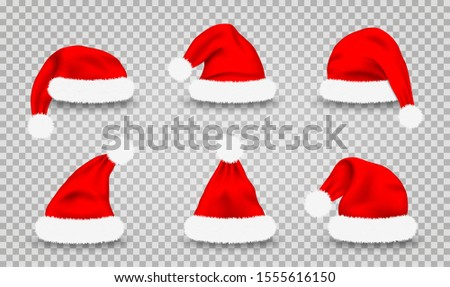 Set of Santa Claus hats. Realistic red Santa Claus's caps isolated on transparent background. Cute Christmas Santa's hats for costume and mask, design element. Vector