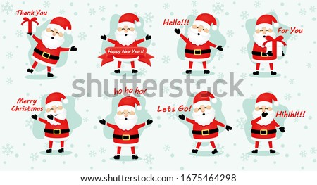 set of santa claus stickers for