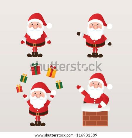set of santa claus vector