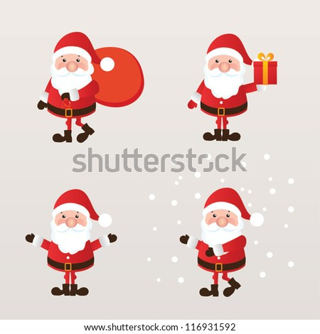 Set of Santa Claus. vector illustration.
