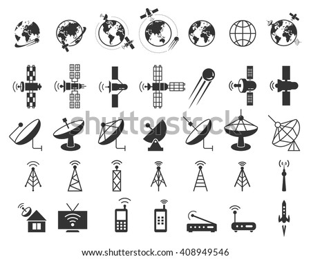 Set of satellite, communication, wireless, connection technology, internet signal icons. Vector illustration