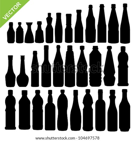 Set of sauce bottle silhouettes vector