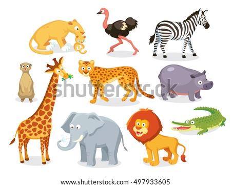 set of savannah animals
