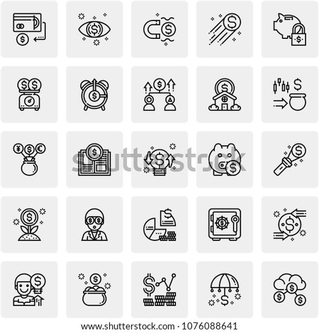 Set Of 25 Saving and Investment  Editable Icons. Professional, pixel perfect icons optimized for both large and small resolutions. EPS 10 format. #1076088641
