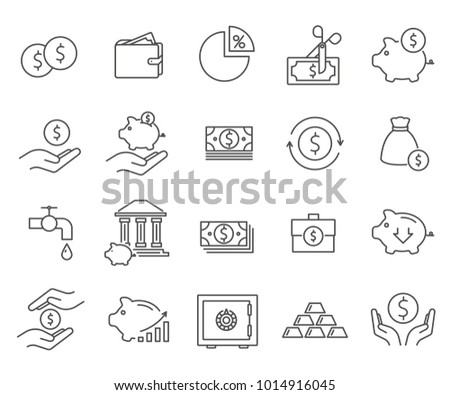 Set of savings Related Vector Line Icons. Includes such Icons as credit, deposits, banks, finances, money, piggy Bank, interest rate and more.
