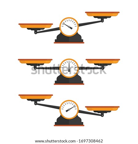 Set of scales. Weighing scale with green pans and gray base. Bowls of scales in balance, an imbalance of scales. Vector illustration in flat style. EPS 10.