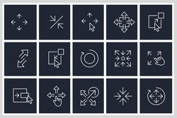 Set of Scaling Arrow icon. Resize pack symbol template for graphic and web design collection logo vector illustration