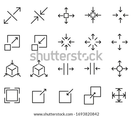 Set of Scaling Related Vector Line Icons. Contains such Icons as Increase, Decrease, Resize and more. Perfect Quality. Foto d'archivio ©