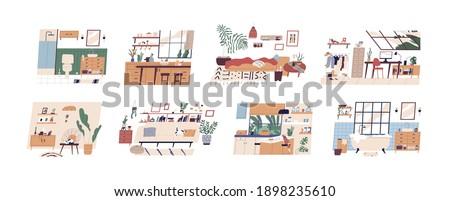 set of scandi interiors