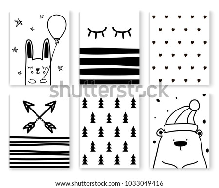 Set of scandinavian design patterns,vector art graphic.Black white cards with cute cartoon doodle animal characters,nordic seamless background textures for baby prints,textile,postcards,decorations