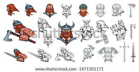set of scandinavian vikings in