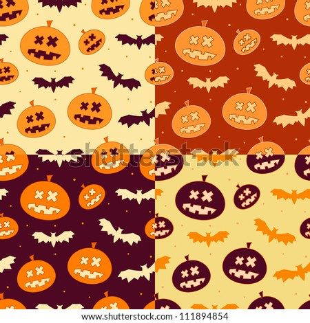 Set of Scary Seamless Pumpkin Patterns for Halloween in October