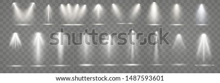 Set of scene illumination , transparent light effects. Bright lighting with spotlights.