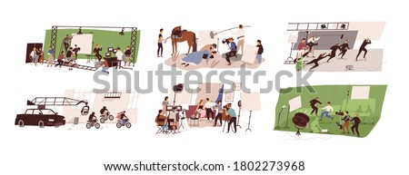 Set of scenes at film studio building interior vector flat illustration. Collection of filmmakers team shooting romantic, historical, thriller and tv show isolated. Backstage of movie making