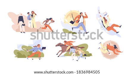 Set of scenes of hectic pace of life vector flat illustration. Collection of different people in hurry. Busy men and women running isolated on white. Deadline and time management concept