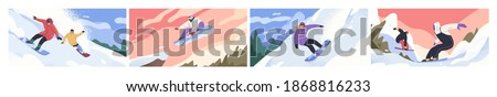Set of scenes of snowboarders riding boards at snowy mountainsides or slopes. People in winter outfit sliding and jumping with snowboards. Outdoor sports activity. Colorful flat vector illustration Stock fotó ©