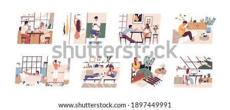 Set of scenes with people using mobile phones, laptop and computer at home during working, eating or resting. Men and women with digital addiction. Flat vector illustration isolated on white