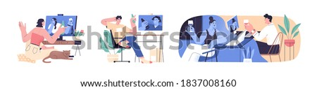 Set of scenes with people videoconferencing and drinking wine or beer together. Friends and couple video call. Men and women meeting online. Distance communication. Flat vector cartoon illustration Stockfoto ©