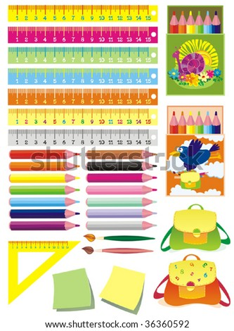 Set of school accessories. Vector illustration.