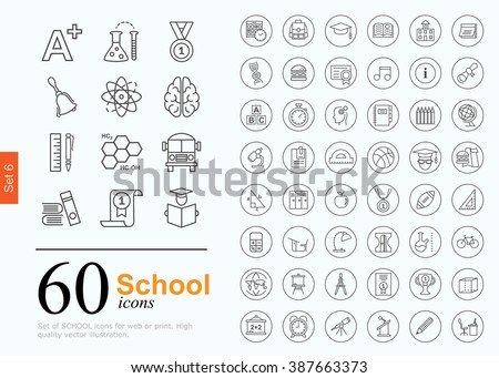 Set of school icons for website or print. 60 design line icons high quality, vector illustration.