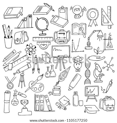 set of school supplies, writing tools, black outline on white background, hand drawing sketch, vector illustration
