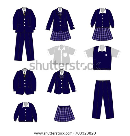Set of school uniform for a boy and a girl