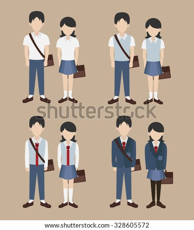 set of school uniform vector
