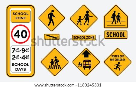 set of school zone street or pedestrian area
