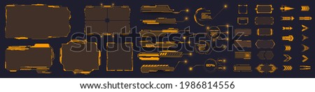 Set of Sci Fi Modern  GUI, HUD, UI futuristic elements. Callouts, buttons,frame,  futuristic bar labels, information call box bars, arrows. Navigation elements for game. Vector illustration