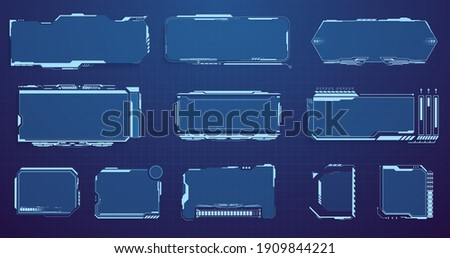 Set of Sci Fi Modern User Interface Elements. Digital futuristic hud interface panels, hologram high tech screen on isolated background. Display sci fi boxes for game. High tech screen for video game