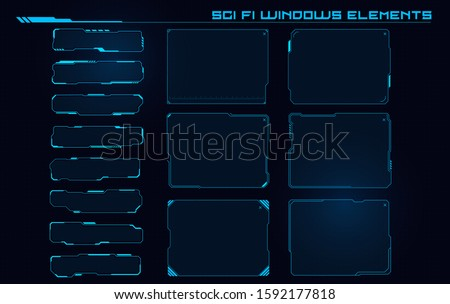Set of Sci Fi Modern User Interface Elements. Futuristic Abstract HUD. Good for game UI. Windows elements for infographics. Vector Illustration EPS10