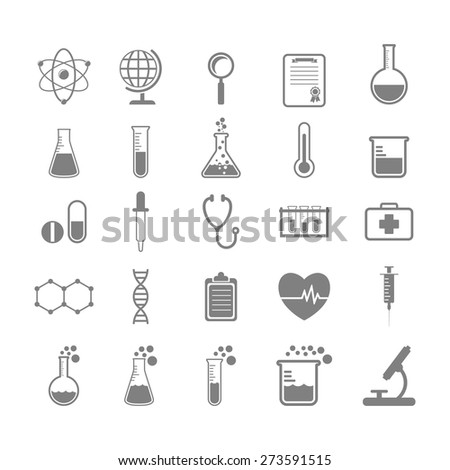Set of Science and chemistry icons, vector