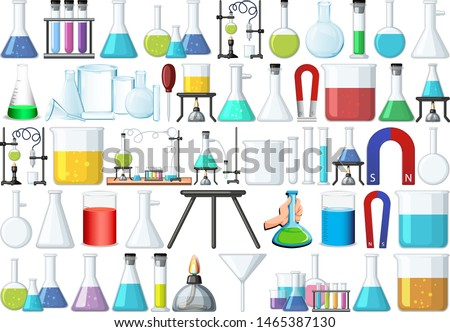 set of science beakers illustration